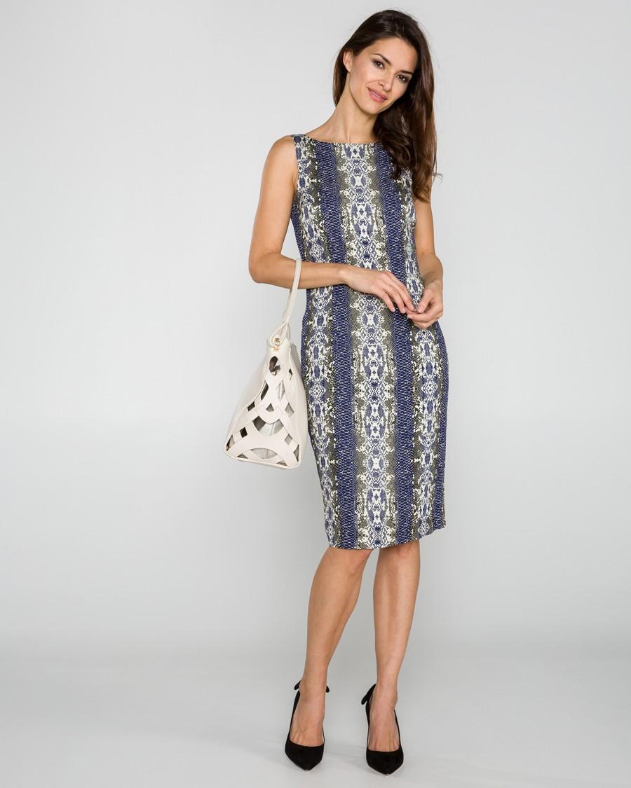 Pouzdrové šaty po kolena v odstínech modré a zelené s hadím vzorem.