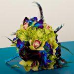 Exotická kytice s pavím peřím