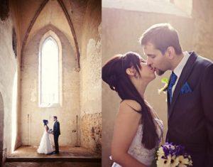 Svatba v bílé a královské modré barvě