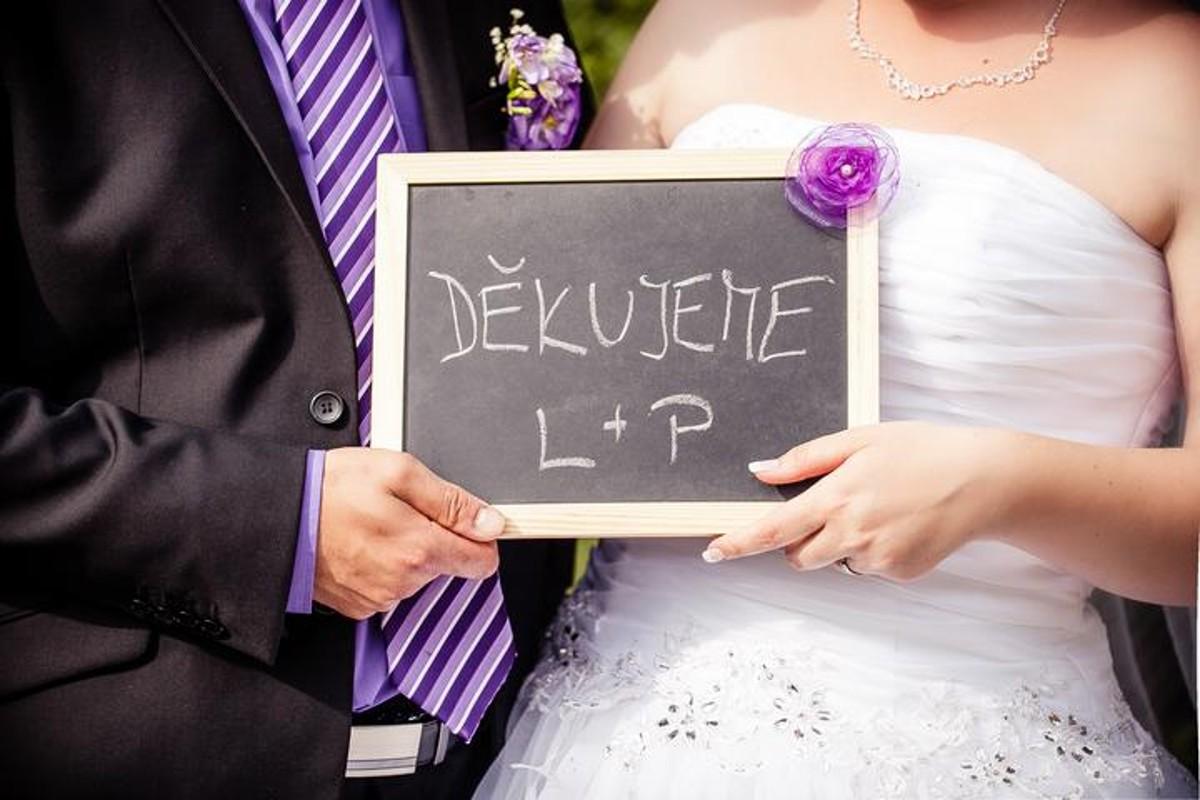 Poděkování hostům za účast na svatbě.