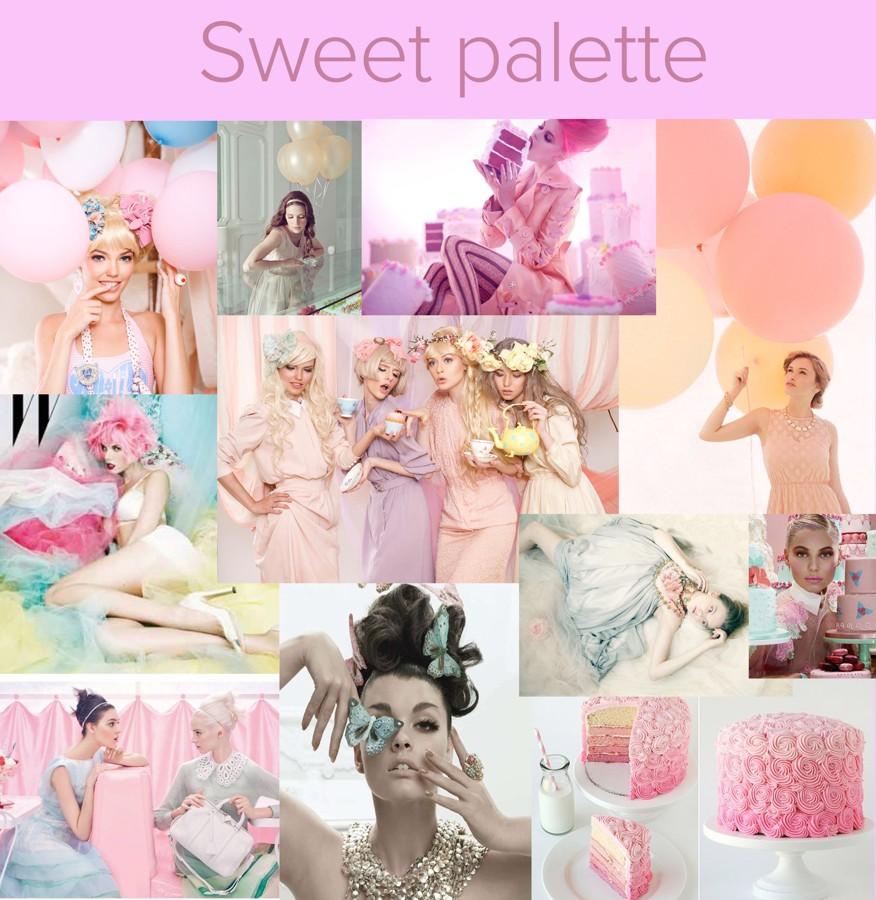 Moodboard v pastelových tónech pro focení Sweet Palette