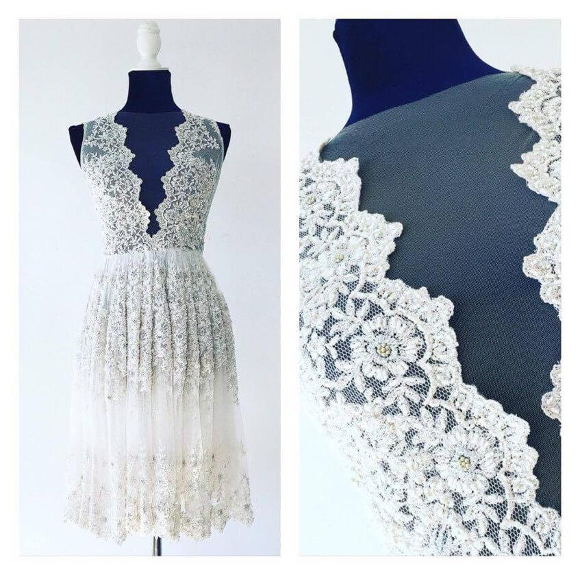 Vyšívaná krajka na svatebních šatech Poner.
