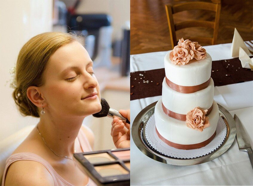 Česká svatba a bílý dort s hnědou stuhou.