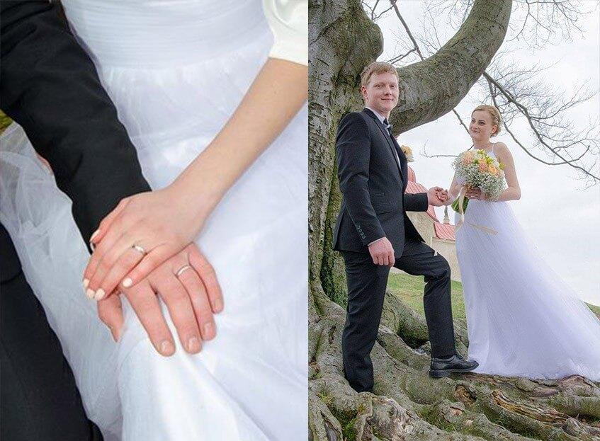 Svatební focení se konalo venku u zámečku.