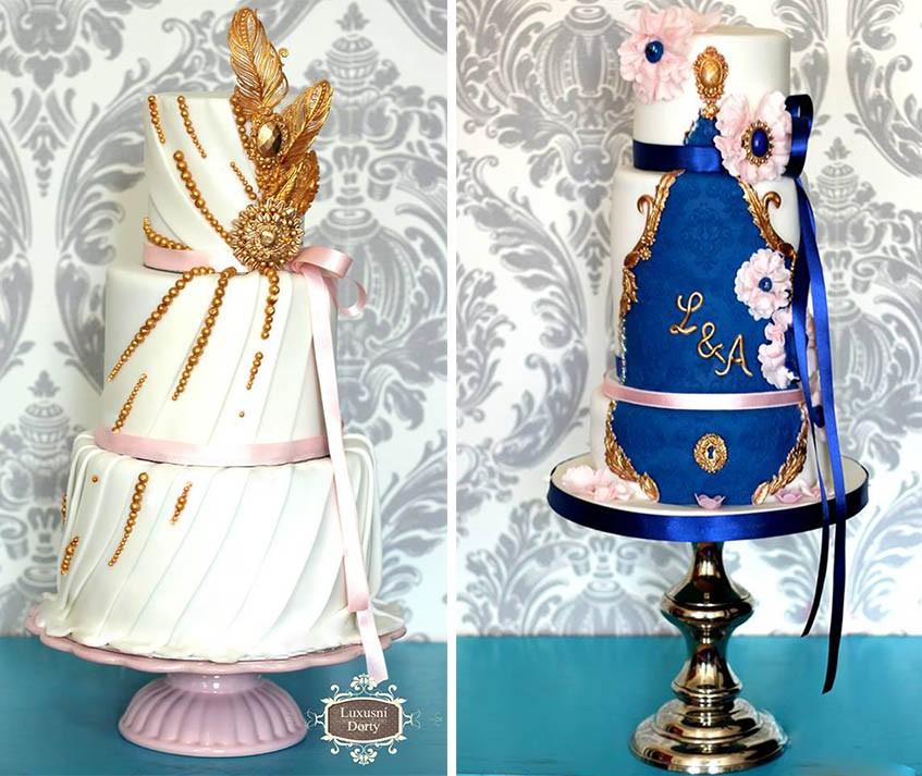 Její specialitou jsou umělecky zdobené svatební dorty se zlatými detaily.
