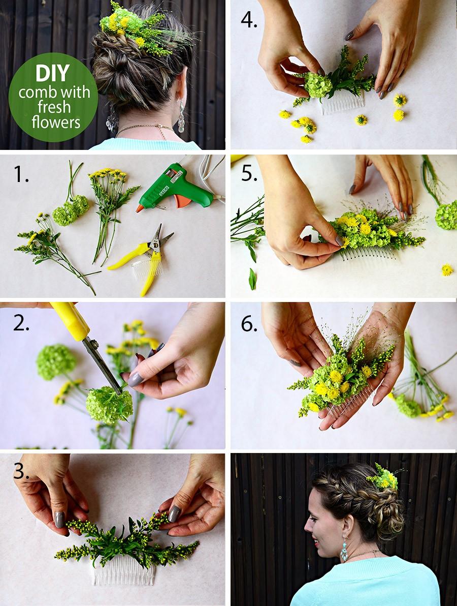 Návod na výrobu hřebínku do vlasů se živými květinami.