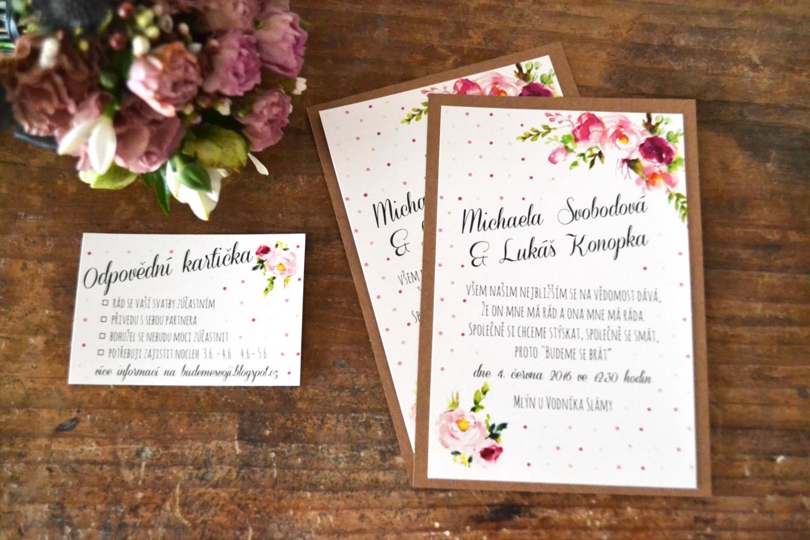 Hravé svatební oznámení s puntíky