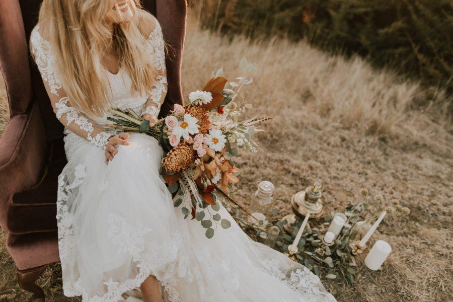 boho svatba na louce