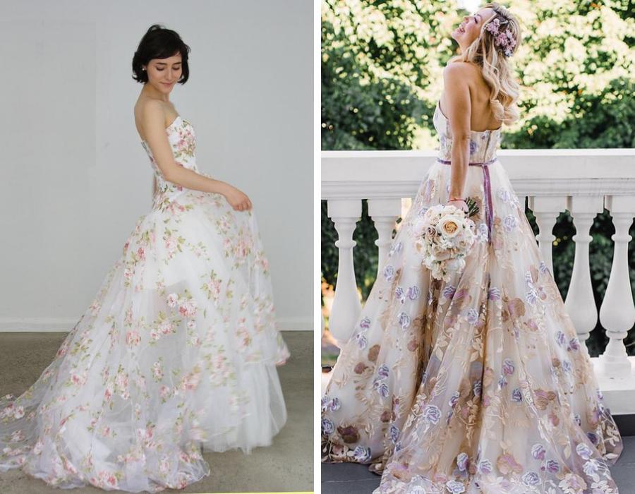 svatební šaty květinové