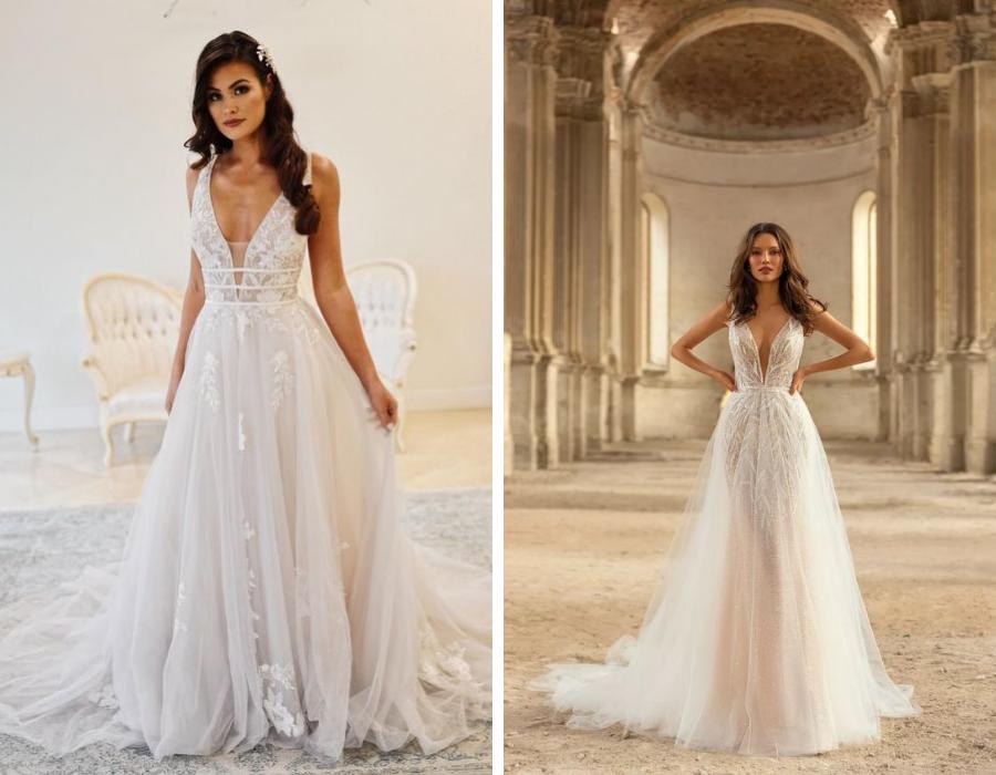 svatební šaty s výstřihem